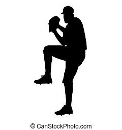 Pitcher, baseball player vector silhouette, front view