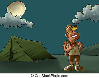 the camp and the scout - a young and happy scout in a camp...
