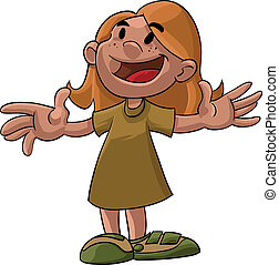 girl with open arms - A cartoon illustration of a young girl...