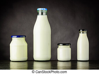 Milk and Dairy Products in Bottle and Jar - Different Types...