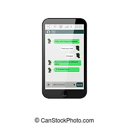 Mobile phone. Vector illustration. Social network concept. Vector. Messenger window. Chating and messaging concept. Green chat boxes.