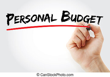 Hand writing Personal budget with marker, concept background