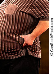 Man belly fat man holds crease of fat stomach . - Man belly...