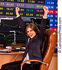 Forex trading woman in business office with chart and pc...