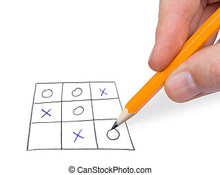 Noughts and crosses game, isolated on white background