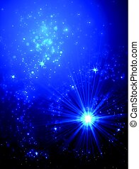 Abstract Background with Falling Star and Twinkling Trail.