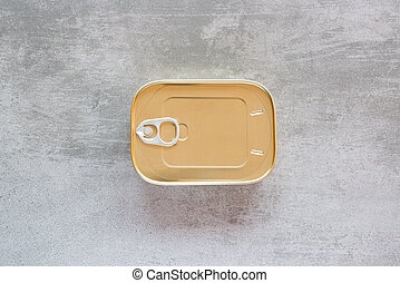 Can of sardines on a concrete table - Can of sardines on a...
