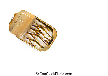 Can of sardines on white background
