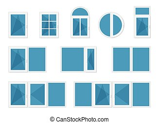 Windows with white frames. Set of different design modern...