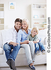 Family home - Attractive young family with a child at home