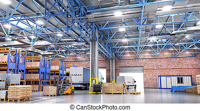 Concept of warehouse. The forklift in the big warehouse on...