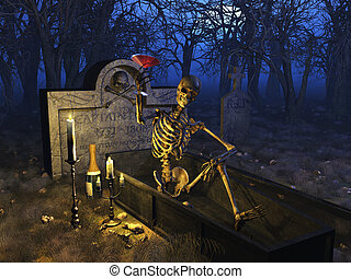Graveyard Celebration - A fun loving party skeleton enjoys a...