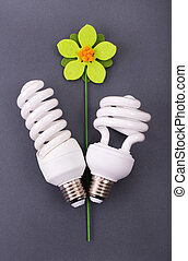Flower with eco bulbs as leaves - Ecology and energy saving...