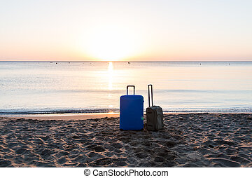 Travel, holiday and vacation concept - two suitcases on the...