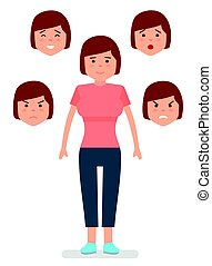 Woman with different facial expressions. Joy, sadness, anger, surprise, irritation