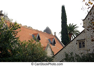 big red roof behind foliage