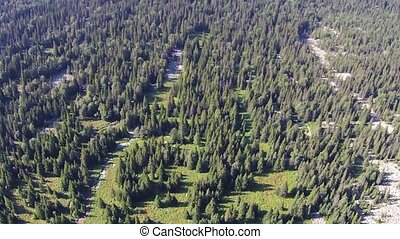 Aerial views of Mount Iremel in the Southern Urals. Summer