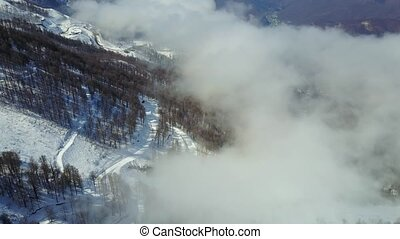 Flying over snowy mountains, forest and ski trail in fog