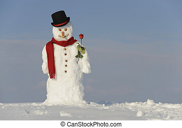 snowman as gentleman with hat, rose and shawl