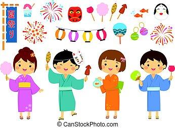 Japanese summer festival set - Set for summer festival in...