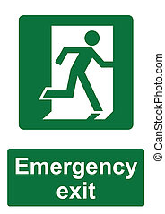 Green Fire Evacuation Sign isolated on a white background -  Emergency exit