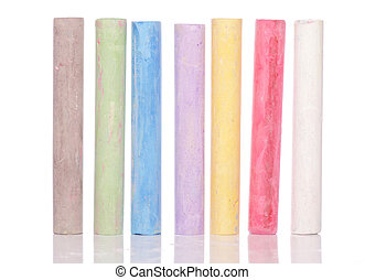 Multi coloured chalk isolated on white background