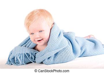 Cute Baby boy's portrait in blue wrap - Cute Baby boy's...