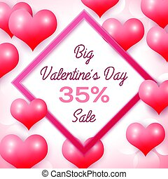 Big Valentines day Sale 35 percent discounts with pink...