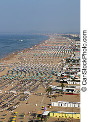 Rimini beach Italy aerial view summer season