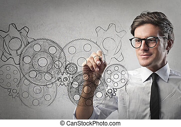 Businessman with gears - Businessman with illustrated gears