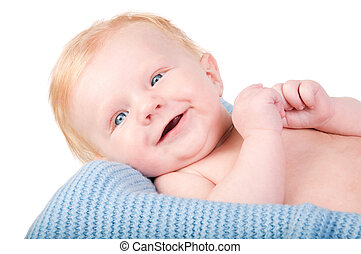 Cute Baby boy's portrait on blue blanket