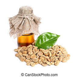 Green coffee beans with pharmaceutical bottle. Isolated
