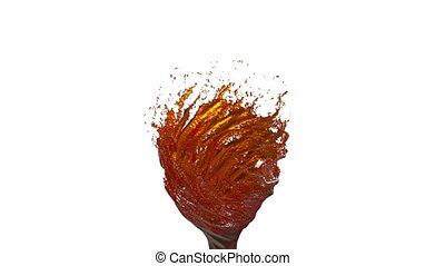 Orange Liquid tornado on white background. Beautiful colored paint is whirling. Isolated transparent vortex of liquid like juice, 3d animation with alpha matte. Version 1