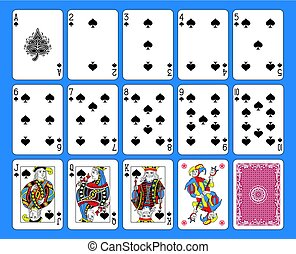 Spades Suite French Style.eps - Playing cards spades suite...