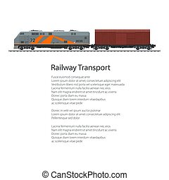 Poster Locomotive with Closed Wagon , Cargo Train Isolated...