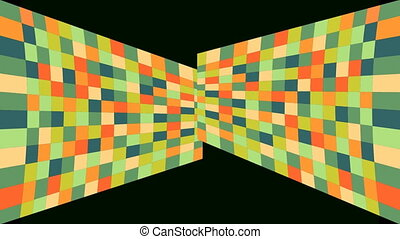 Abstract video background with mosaic shapes, part surface crumbles, Shapes are rearranged