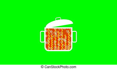Animated pot with boiling contents., rising bubbles,...