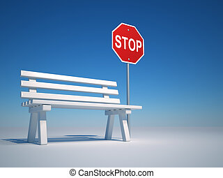 Stop and rest - A bench and a stop sign - 3d render
