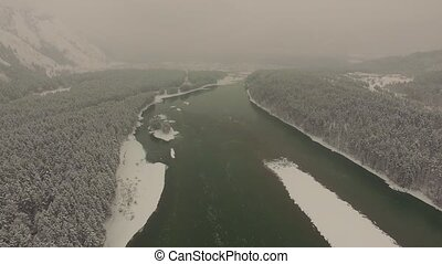 The river Katun in Altai, aerial, winter