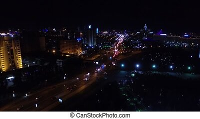 Astana, Kazakhstan. Aerial night view over crossroad -...