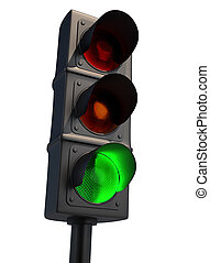 Green light - Traffic light isolated on white - 3d render