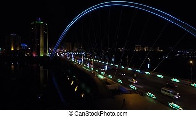 Astana, Kazakhstan. Aerial view of the bridge and the river...