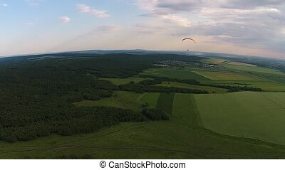 Aerial view of paragliding near the mountain solitary Toratau