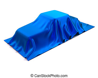 Surprize - Car covered with blue silk - 3d render