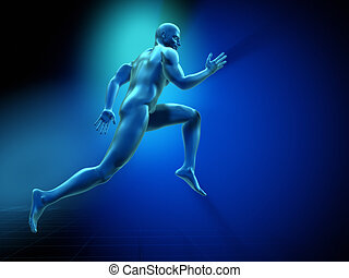 The runner - 3d render illustration of a man running