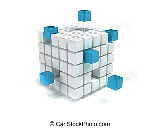 Cubes - Interconnected white and blue cubes - 3d render