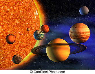 Solar system - Planets in solar system - 3d render...