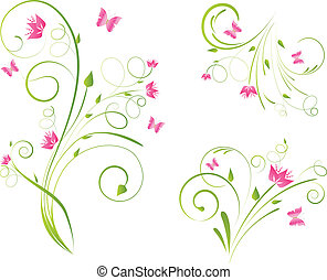 Florals designs and butterflies - Floral designs with pink...