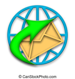 Email letter in envelope quick delivering around world