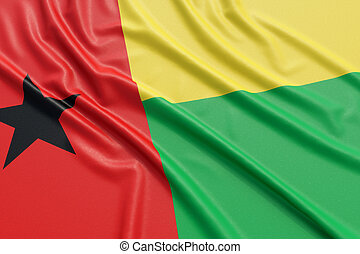 Guinea-Bissau flag. Wavy fabric high detailed texture. 3d...
